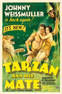 "Tarzan and His Mate (MGM, 1934). One Sheet (27"" X 41"") Style D, William Galbraith Crawford Artwork"