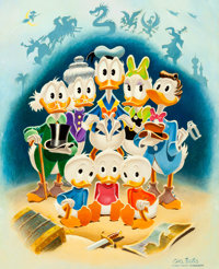 "Carl Barks ""Family Portrait"" Uncle Scrooge and Disney Ducks Painting #73-15 with Handwritten Letter (Walt Disn..."