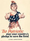 "Movie Posters:War, World War I Propaganda (U.S. Food Administration, 1918). Poster(20.75"" X 29.5"") ""Be Patriotic,"" Paul Stahr Artwork.. ..."