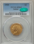 Indian Half Eagles, 1908 $5 MS62 PCGS. CAC. PCGS Population: (1918/2276). NGC Census: (2710/1903). CDN: $570 Whsle. Bid for problem-free NGC/PC...