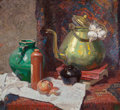 Fine Art - Painting, American, Dean Cornwell (American, 1892-1960). Still Life with Teapot andCeramic Vessels, 1927. Oil on canvas. 28 x 30 inches (71...