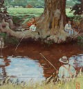 Paintings, Norman Rockwell (American, 1894-1978). Fishing, 1965. Oil over joined photographic paper . 10-1/8 x 9-1/4 inches (25.7 x...