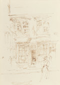 Fine Art - Work on Paper, James Abbott McNeill Whistler (American, 1834-1903). InCathedral Close, Canterbury, circa 1896. Ink on paper. 5-1/8 x3...