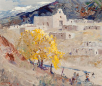 Fremont F. Ellis (American, 1897-1985) Autumn, Laguna Pueblo, 1973 Oil on canvas 20 x 24 inches (