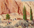 Fine Art - Painting, American, Fremont F. Ellis (American, 1897-1985). On the Way to theTrading Post. Oil on Masonite. 20 x 23-7/8 inches (50.8 x60.6...