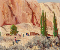Fremont F. Ellis (American, 1897-1985) On the Way to the Trading Post Oil on Masonite 20 x 23-7/8