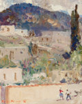 Fine Art - Painting, American, Fremont F. Ellis (American, 1897-1985). Sketch for AtalayaHill. Oil on canvas. 14 x 11 inches (35.6 x 27.9 cm). Signed...