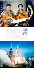 Autographs:Celebrities, Space Shuttle Columbia (STS-1) Crew-Signed Cover with ColorPhotos.... (Total: 3 Items)