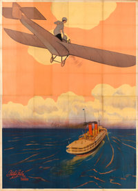 "Victory or Death (Itala Film, 1913). Italian Four Panel (81"" X 112"") Airplane Style, Leopoldo Metlicovitz Artw..."