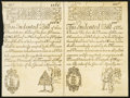 Colonial Notes:New Hampshire, New Hampshire May 20, 1717 Redated 1729 £3 10s - £4 Uncut PairCohen Reprints Very Fine+.. ...