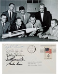 Autographs:Celebrities, Mercury Seven Astronauts: Cover Signed by Five, Including Grissom, with Photo....