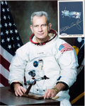 Autographs:Celebrities, Deke Slayton Signed SpaceShots Card (#85) with White SpacesuitColor Photo. ... (Total: 2 Items)