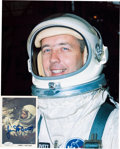 Autographs:Celebrities, James McDivitt Signed SpaceShots Card (#79) with Silver SpacesuitColor Photo.... (Total: 2 Items)