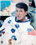 Autographs:Celebrities, Wally Schirra Signed SpaceShots Card (#17) with White SpacesuitColor Photo.... (Total: 2 Items)