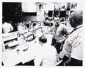 Autographs:Celebrities, Apollo 14 Mission Control Photo Signed by Three Flight Directors:Lunney, Griffin, and Kranz....