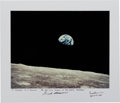 "Autographs:Celebrities, Frank Borman Signed Large ""Earthrise"" Color Photo, with Astronaut Central COA. ..."