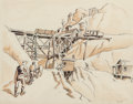 Works on Paper, Thomas Hart Benton (American, 1889-1975). Miners Going to Work -- Addison, 1928. Pencil, ink, and sepia wash on paper. 1...