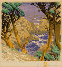 Gustave Baumann (German/American, 1881-1971) Point Lobos, 1946 Woodcut in colors 8 x 8 inches (20