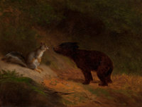 William Holbrook Beard (American, 1824-1900) Unlikely Friends Oil on canvas 12 x 15 inches (30.5