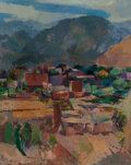 Fine Art - Painting, American, Willard Ayer Nash (American, 1893-1943). View of Ranchos andLeg Study (double-sided work), 1927. Oil on canvas...