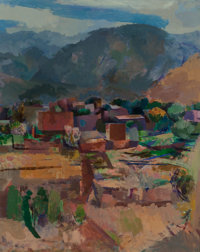 Willard Ayer Nash (American, 1893-1943) View of Ranchos and Leg Study (double-sided work)