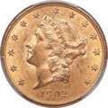 Liberty Double Eagles, 1902 $20 MS62+ PCGS. CAC....