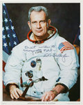 Autographs:Celebrities, Deke Slayton Signed White Spacesuit Color Photo....