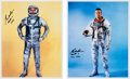 Autographs:Celebrities, Gordon Cooper Signed Full-length Silver Spacesuit Color Photos(Two). ... (Total: 2 Items)