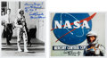 Autographs:Celebrities, Scott Carpenter Signed Silver Spacesuit Photos (Two).... (Total: 2Items)