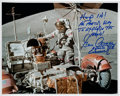 Autographs:Celebrities, Gene Cernan Signed Apollo 17 Lunar Surface LRV Color Photo withUnique Quote....