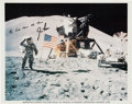 Autographs:Celebrities, Jim Irwin Signed Apollo 15 Lunar Surface Flag Salute Color Photo....