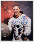 Autographs:Celebrities, James Lovell Signed Apollo 13 White Spacesuit Color Photo withFamous Quote. ...