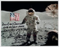 "Autographs:Celebrities, Gene Cernan Signed Apollo 17 Lunar Surface Flag Color Photo with""Last Words"" Quote. ..."