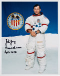 Autographs:Celebrities, John Young Signed White Spacesuit Color Photo. ...