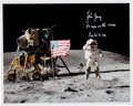 "Autographs:Celebrities, John Young Signed Apollo 16 Lunar Surface ""Leaping Flag Salute""Color Photo...."