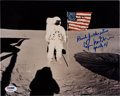 Autographs:Celebrities, Edgar Mitchell Signed Apollo 14 Lunar Surface Flag Color Photo with PSA/DNA Sticker. ...