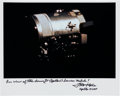 Autographs:Celebrities, Fred Haise Signed Apollo 13 Damaged Service Module Color Photo....