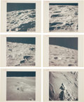 "Explorers:Space Exploration, Apollo 16: Group of Eight NASA Original ""Red Number"" Lunar Crater Color Photos, from Magazines 118, 119, and 122. ... (Total: 8 Items)"