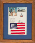 Explorers:Space Exploration, Space Shuttle Columbia (STS-1) Flown American Flag onPresentation Certificate with Large Color STS-1 Launch Photo...(Total: 2 Items)