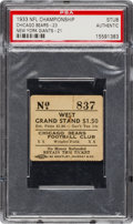 Football Collectibles:Tickets, 1933 NFL Championship Ticket Stub - 1st Ever League Title Game in History!...