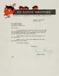 Baseball Collectibles:Others, 1952 Rogers Hornsby Signed Letter. ...