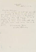 Baseball Collectibles:Others, 1942 Walter Johnson Handwritten Signed Letter. ...