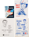 Explorers:Space Exploration, NASA Manned Flight Awareness Posters: Group of Four OriginalsFeaturing Apollo Astronauts. ...