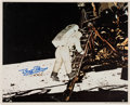 Autographs:Celebrities, Buzz Aldrin Signed Large Lunar Surface Color Photo Originally fromHis Personal Collection....