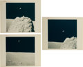 "Explorers:Space Exploration, Apollo 17: Group of Three Original NASA ""Red Number"" Earth from the Moon Color Photos, from Magazine 137. ... (Total: 3 Items)"