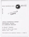 Explorers:Space Exploration, Apollo 14 Flown Ablative Plugs (Ten) from the Estate of NASAEngineer Donald T. Hamilton. ...