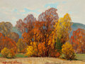Fine Art - Painting, American, Dwight Clay Holmes (American, 1900-1986). Shades of Autumn.Oil on canvasboard. 12 x 16 inches (30.5 x 40.6 cm). Signed ...