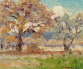 Fine Art - Painting, American, Peter Lanz Hohnstedt (American, 1872-1957). Pair of SummerLandscapes. Oil on canvas laid on board, each. 4-1/2 x 5-1/2... (Total: 2 )