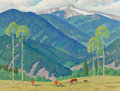Fine Art - Painting, American, Fred Darge (American, 1900-1978). Gold Mountain, Red RiverCountry, New Mexico. Oil on canvasboard. 12 x 16 inches(30.5...