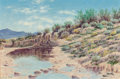 Fine Art - Painting, American, Lewis Teel (American, 1883-1960). Western Desert. Oil oncanvas laid on board. 8 x 12 inches (20.3 x 30.5 cm). Signed lo...